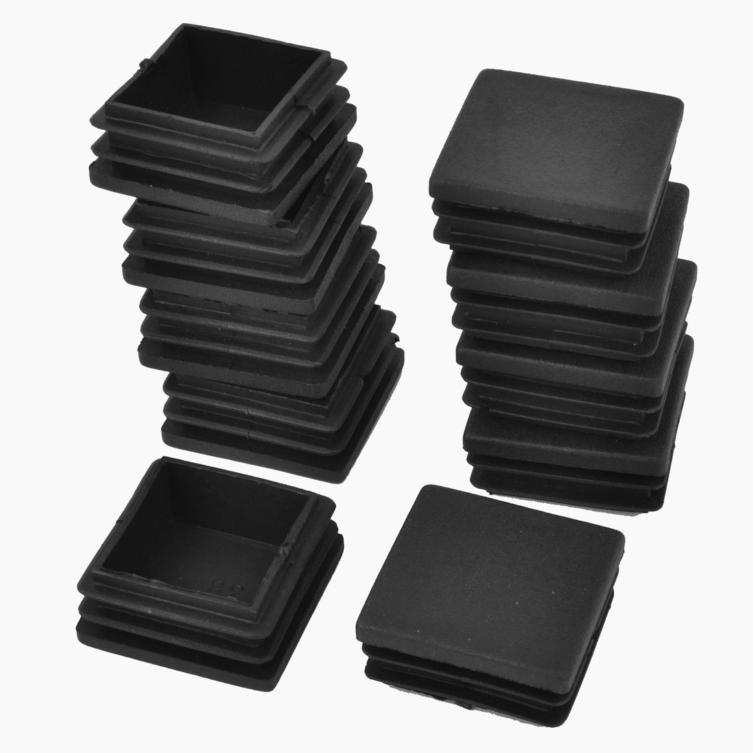 38mm x 38mm Plastic Square Tube Inserts End Blanking Caps Black 10Pcs