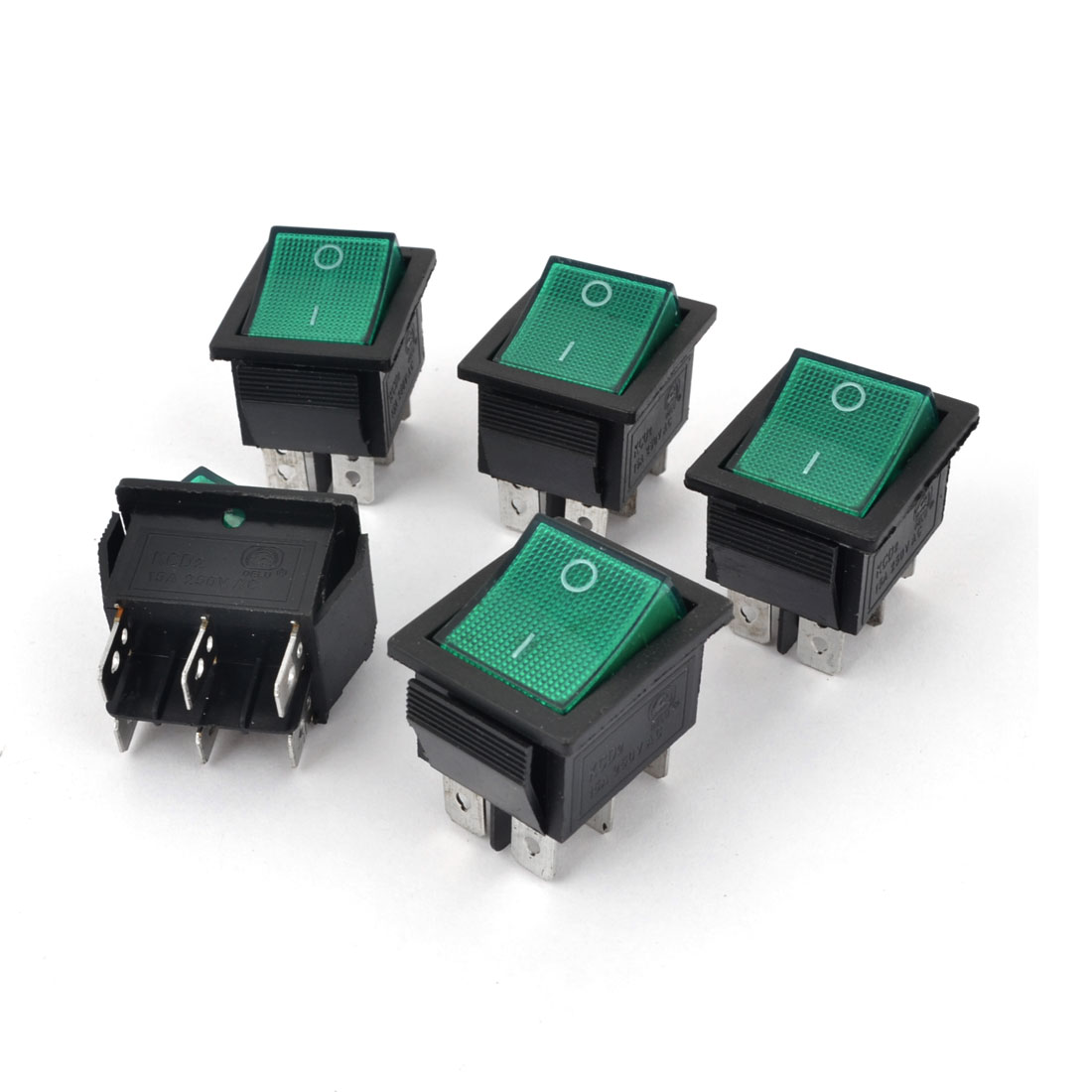 5pcs DPDT I/O 2 Position Green Lamp Boat Rocker Switch 6 Pins AC 250V 15A