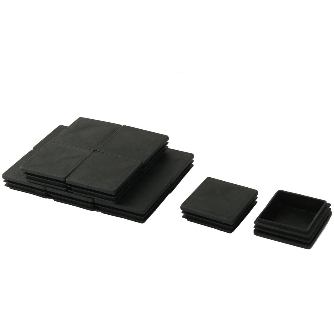 50mm x 50mm Black Hard Plastic Tubing Tube Insert Blanking End Caps 12Pcs