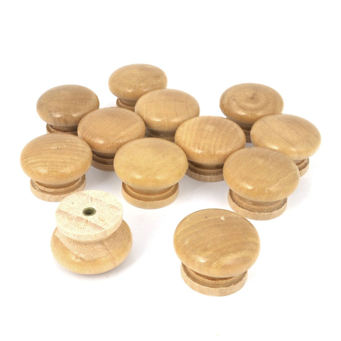 Replacement Pot Wood Color Round Shape Handle Wood Drawer Knobs 12Pcs