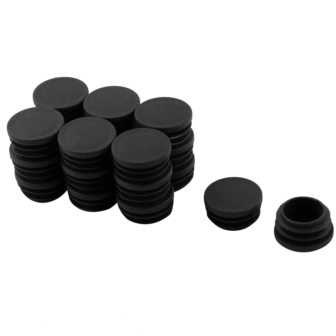 20pcs 32mm Plastic Blanking End Caps Round Tube Pipe External Inserts