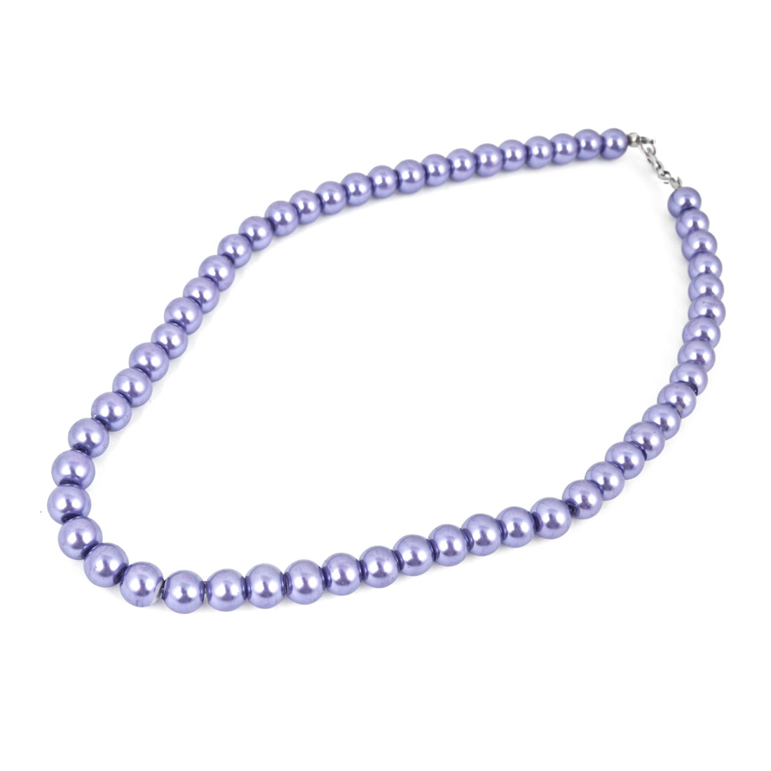 Women Jewelry Purple Plastic Beads Linked Party Necklace