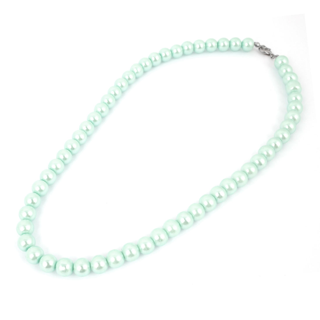 Lobster Clasp Round Faux Imitation Pearl Linked Necklace Light Green for Woman