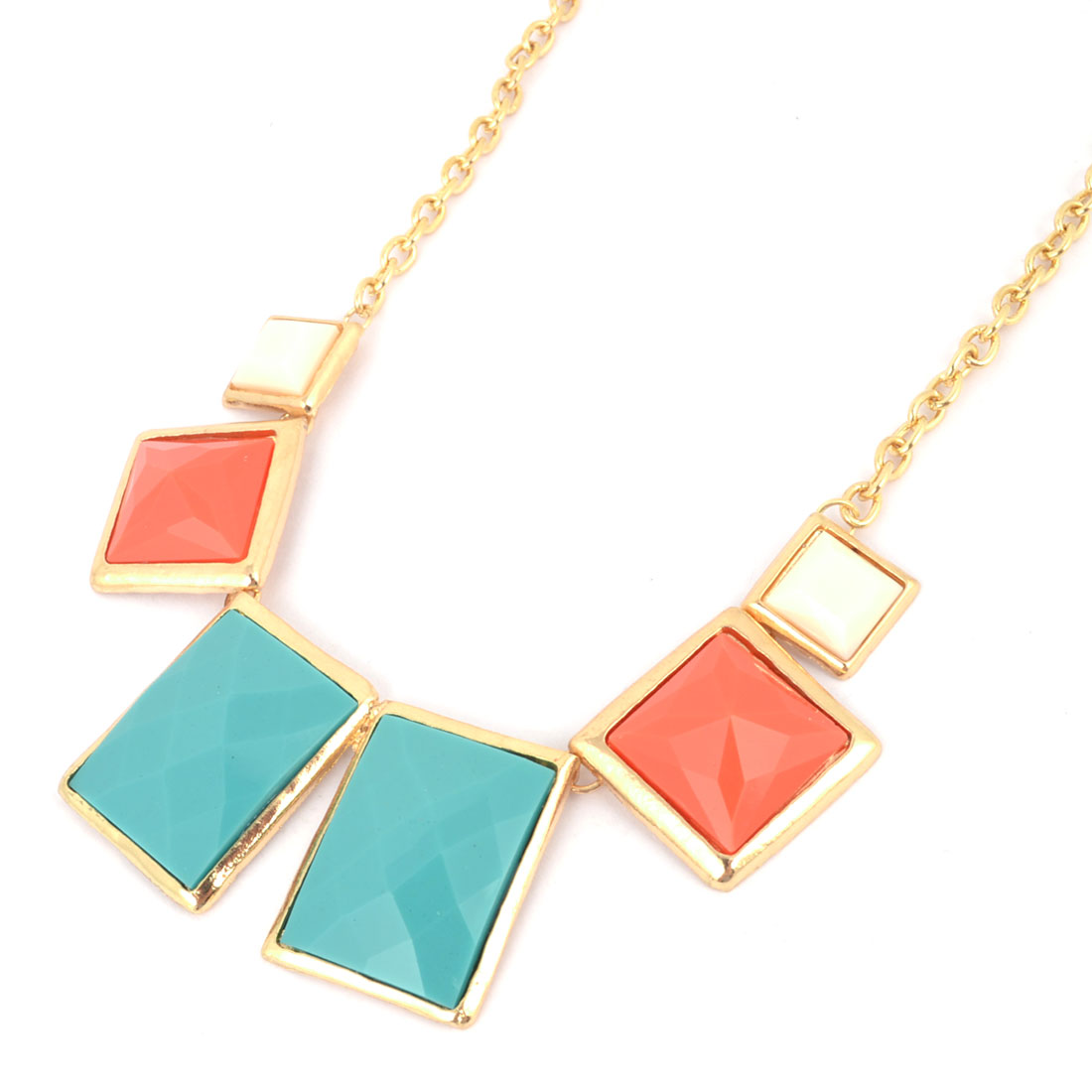 Gold Tone Blue Red White Square Bead Design Pendant Necklace for Ladies