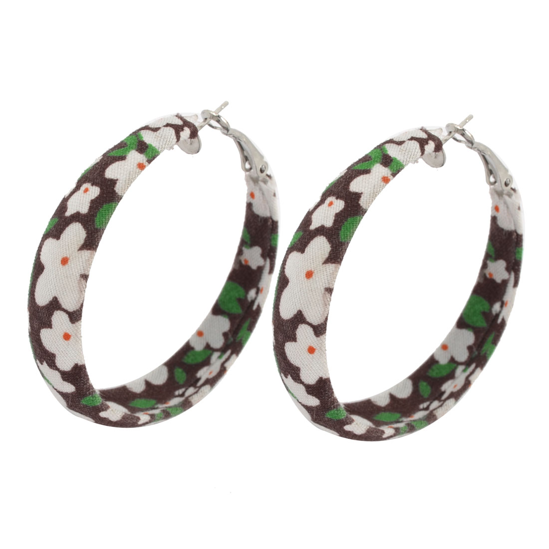 Pair Green White Flower Pattern Brown Fabric Covered Pierced Ear Hoop Earrings for Women