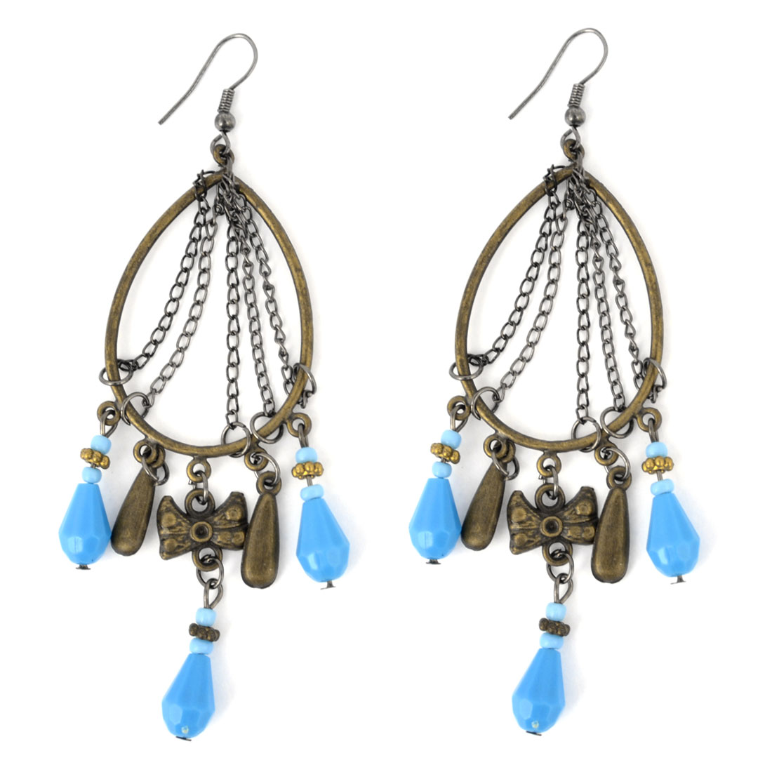 "Pair Blue Beads Pendant Retro Style Bronze Tone Metal Hook Earrings Eardrops 4.1"" Long"