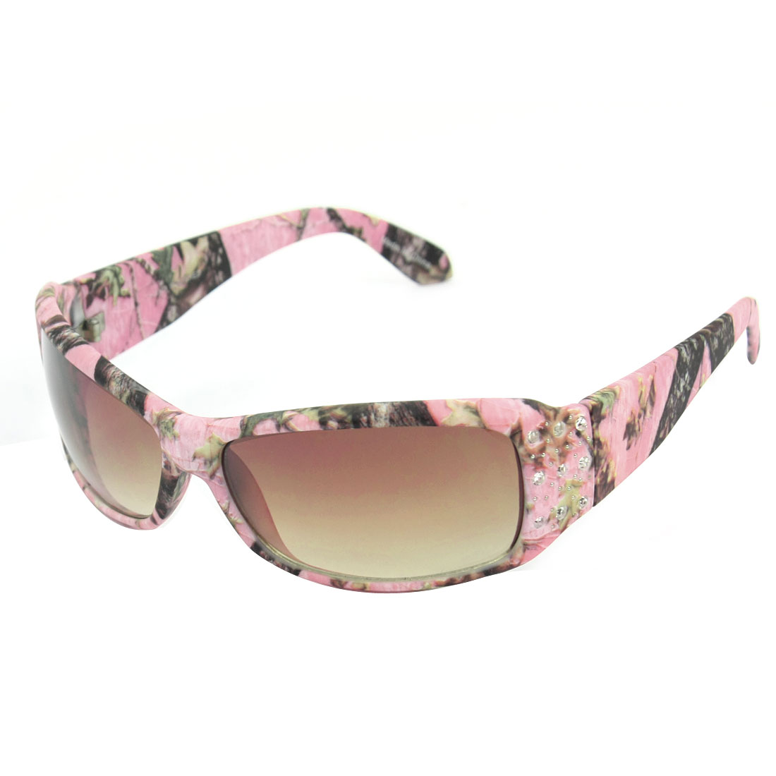 Lady Single Bridge Wide Plastic Temple Glitter Rhinestone Accent Pink Full Rim Frame Rectangle Shaped Gradient Brown Lens Sunglasses Eyeglasses