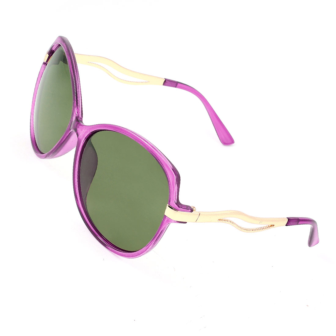 Single Bridge Purple Plastic Full Rim Frame Grey Green Lens Gold Tone Metal Accent Arms Shopping Leisure Polarized Glasses Sunglasses for Lady