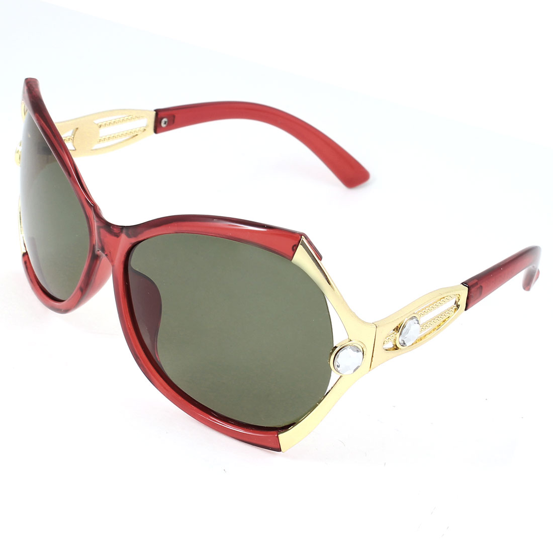 Single Bridge Red Plastic Full Rim Frame Grey Green Lens Faux Crystal Metal Accent Temple Leisure Polarized Glasses Sunglasses for Woman