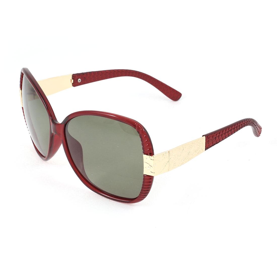 Single Bridge Red Plastic Full Rim Frame Gray Green Lens Gold Tone Metal Decor Temple Beach Leisure Polarized Glasses Sunglasses for Woman