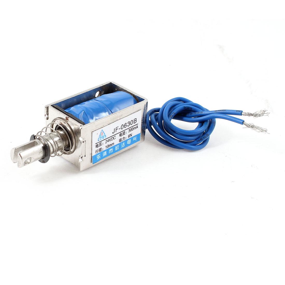 10mm Stroke 0.6Kg Force Push Pull Open Frame Solenoid Electromagnet DC 24V 0.3A