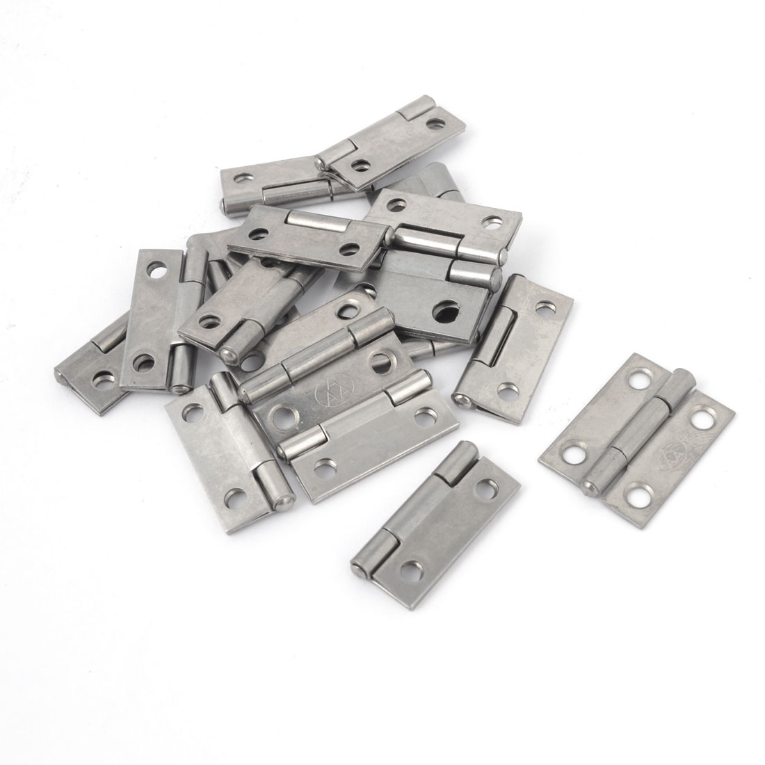 "20 Pcs Home Office Cupboard Cabinet Silver Tone Stainless Steel Foldable Rotating Cabinet Door Hinge 1"" Length"