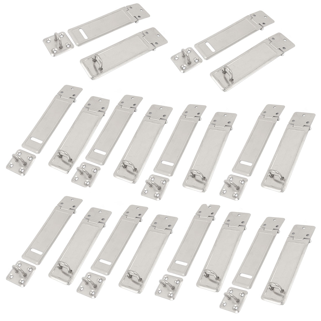 20 Pcs 9.5cm x 3cm Silver Tone Stainless Steel Desk Cabinet Lock Replacement Saftey Door Hasp Staple
