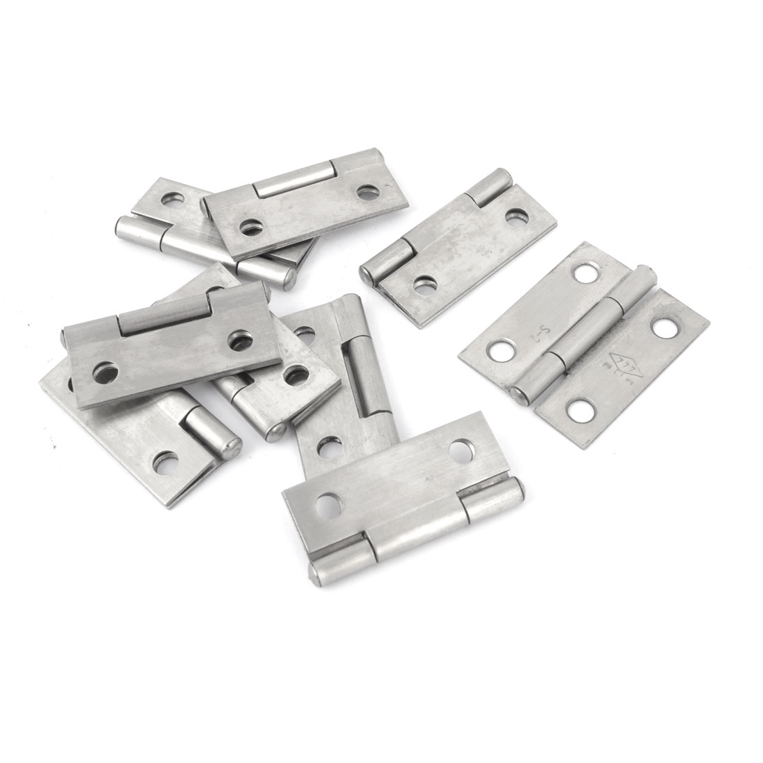"10 Pcs Home Office Cupboard Cabinet Silver Tone Stainless Steel Foldable Rotating Cabinet Door Hinge 1.5"" Length"