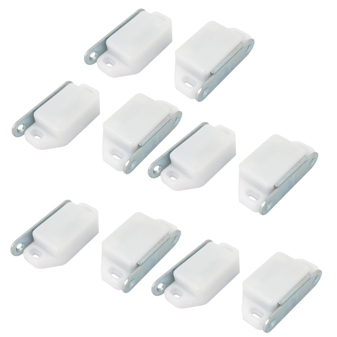"2.4"" Length Cabinet Door White Plastic Metal Plate Magnetic Catch Latch 10 in 1 Set"