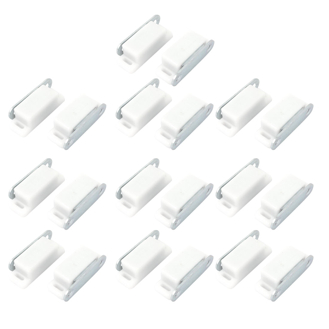 "20 Pcs Cupboard Cabinet Doors Plastic Case Metal Plate Magnetic Catch Latch White 2"" Length"