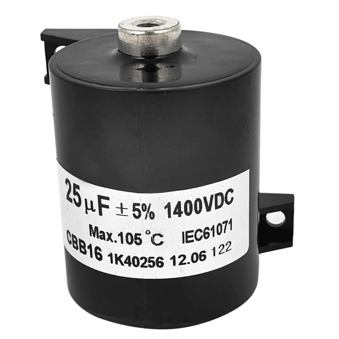 CBB16 DC 1400V 25uF 5% Plastic Housing Cylinder Capacitor Black for Electric Welder