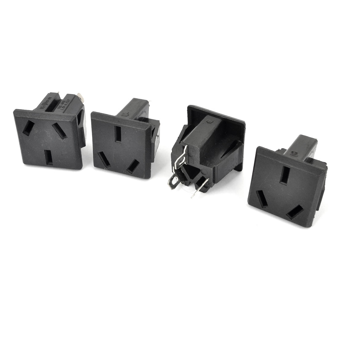 4 Pcs Black Plastic Panel Mount 3 Terminals AU 3P Power Socket AC 250V 10A