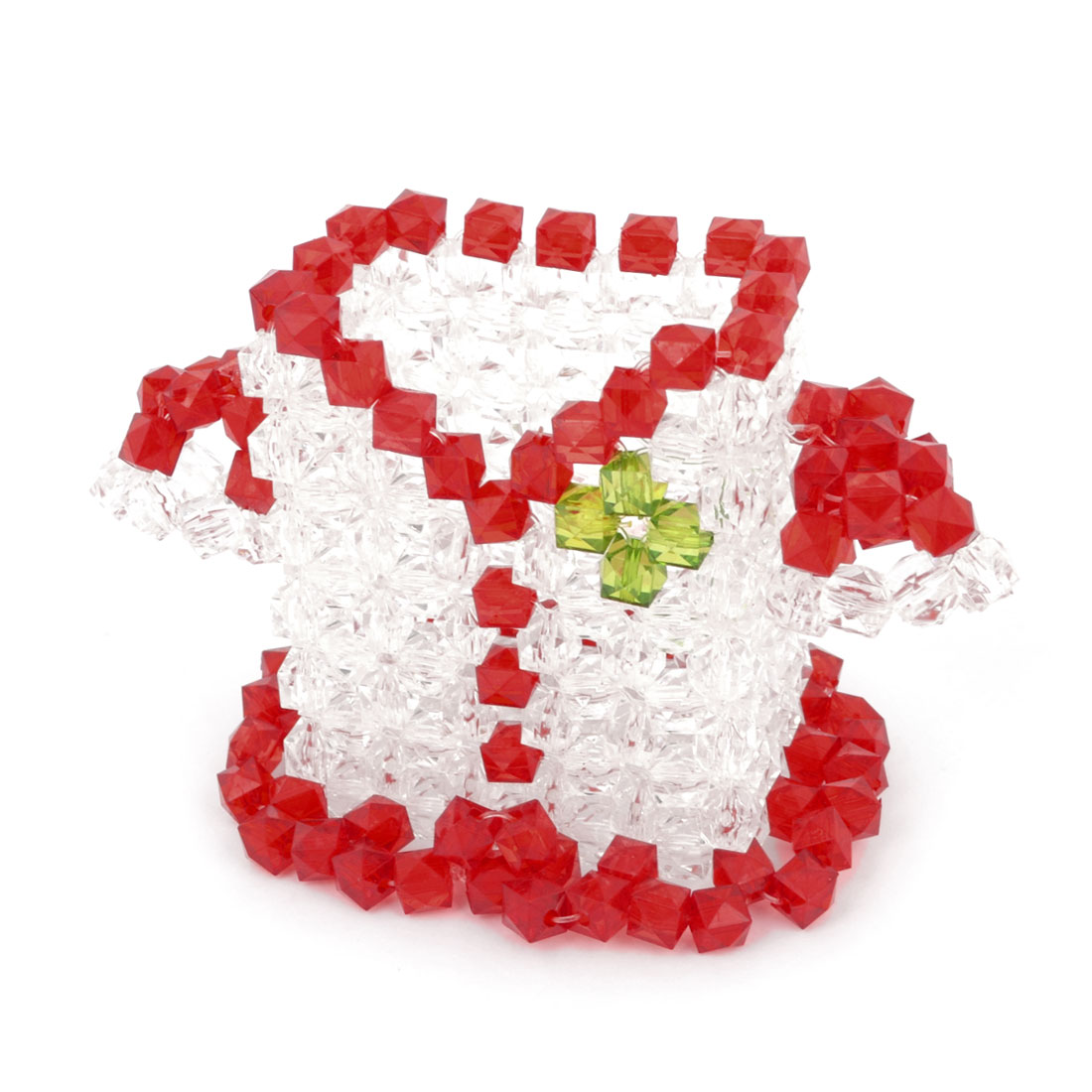 White Red Cloth Design Handmade Handcrafted Faux Crystal Stationery Desk Ruler Pencil Holder