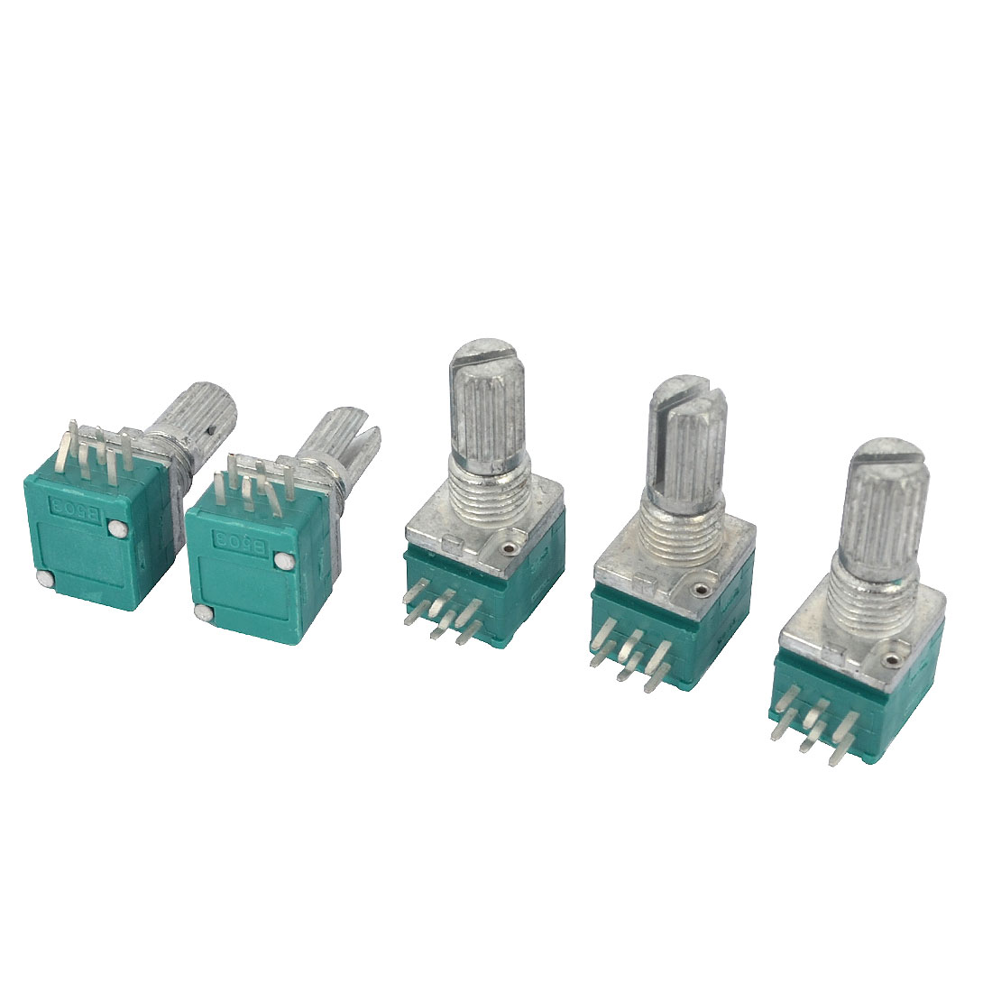 B50K 50K Ohm Green Top Rotary Single Turn Taper Linear Adjustment Variable Knurled Shaft Potentiometer 5 Pcs