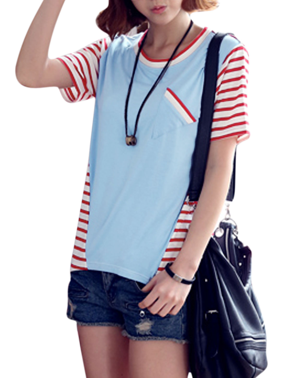 Women Round Neck Short Sleeve Stripes Panel Design T-Shirt Sky Blue XS
