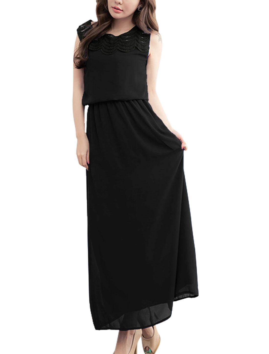 Lady Round Neck Crochet Panel Full-Length Blouson Dress Black XS