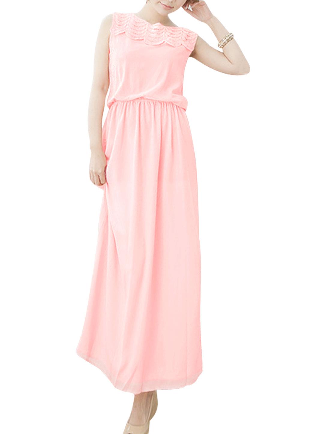 Lady Crochet Panel Lining Full-Length Blouson Dress Light Pink XS