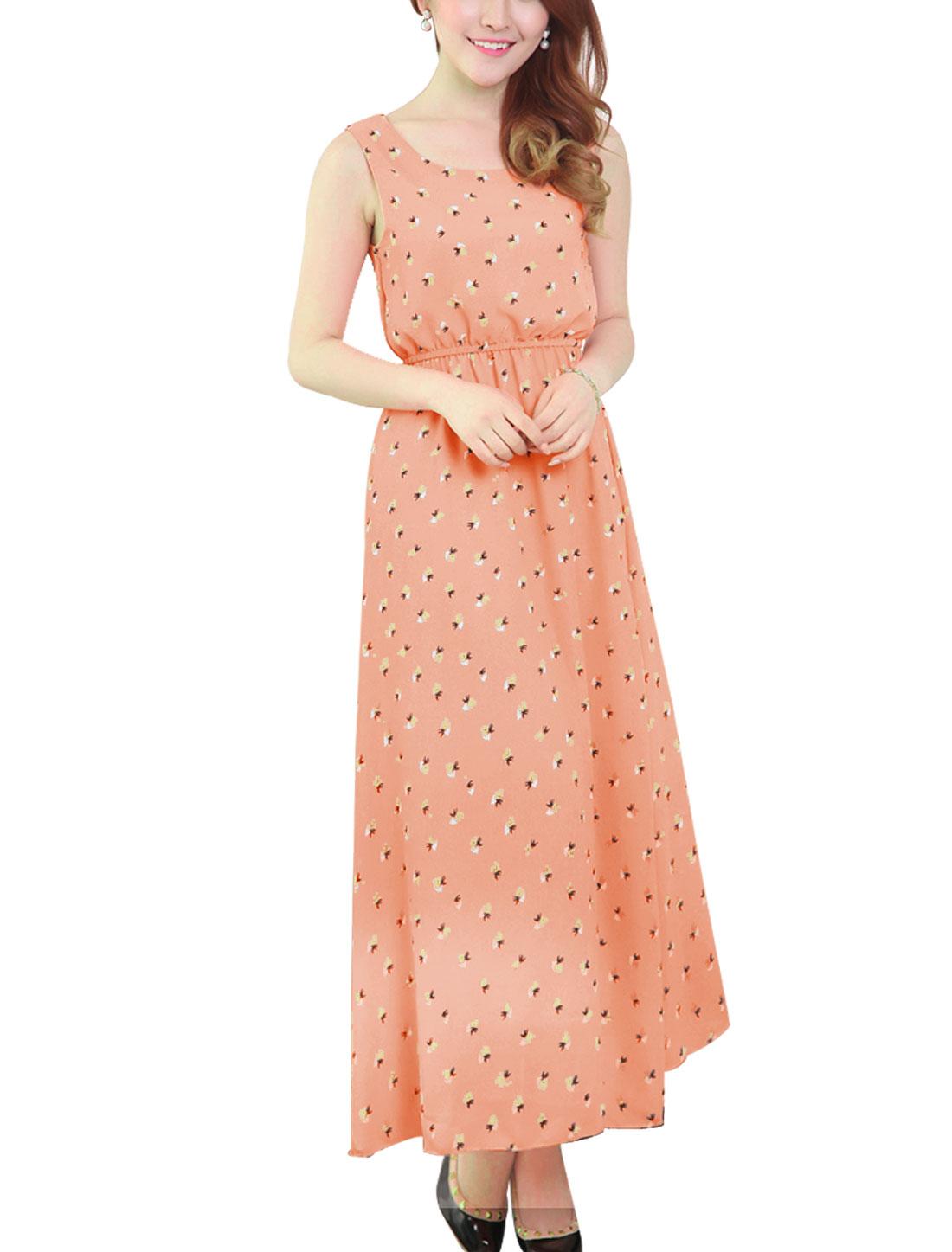 Lady Crochet Panel Sleeveless Full-Length Chiffon Blouson Dress Salmon XS