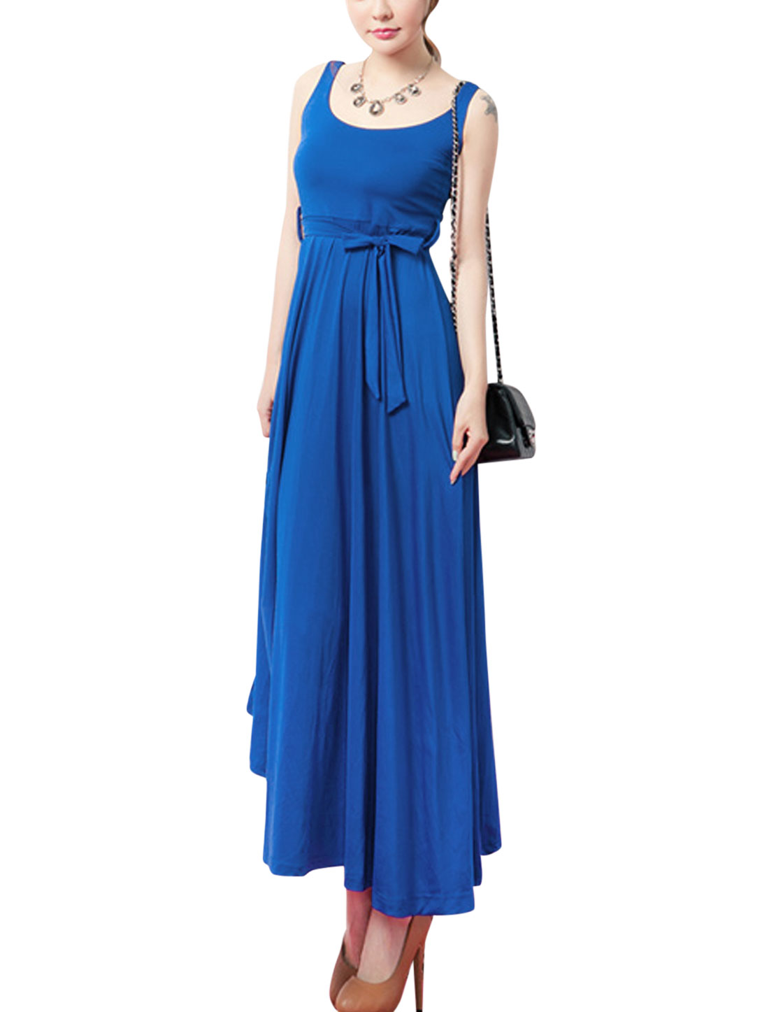 Ladies Self Tie Strap Empire Waist Elegant Tank Dress Royal Blue S
