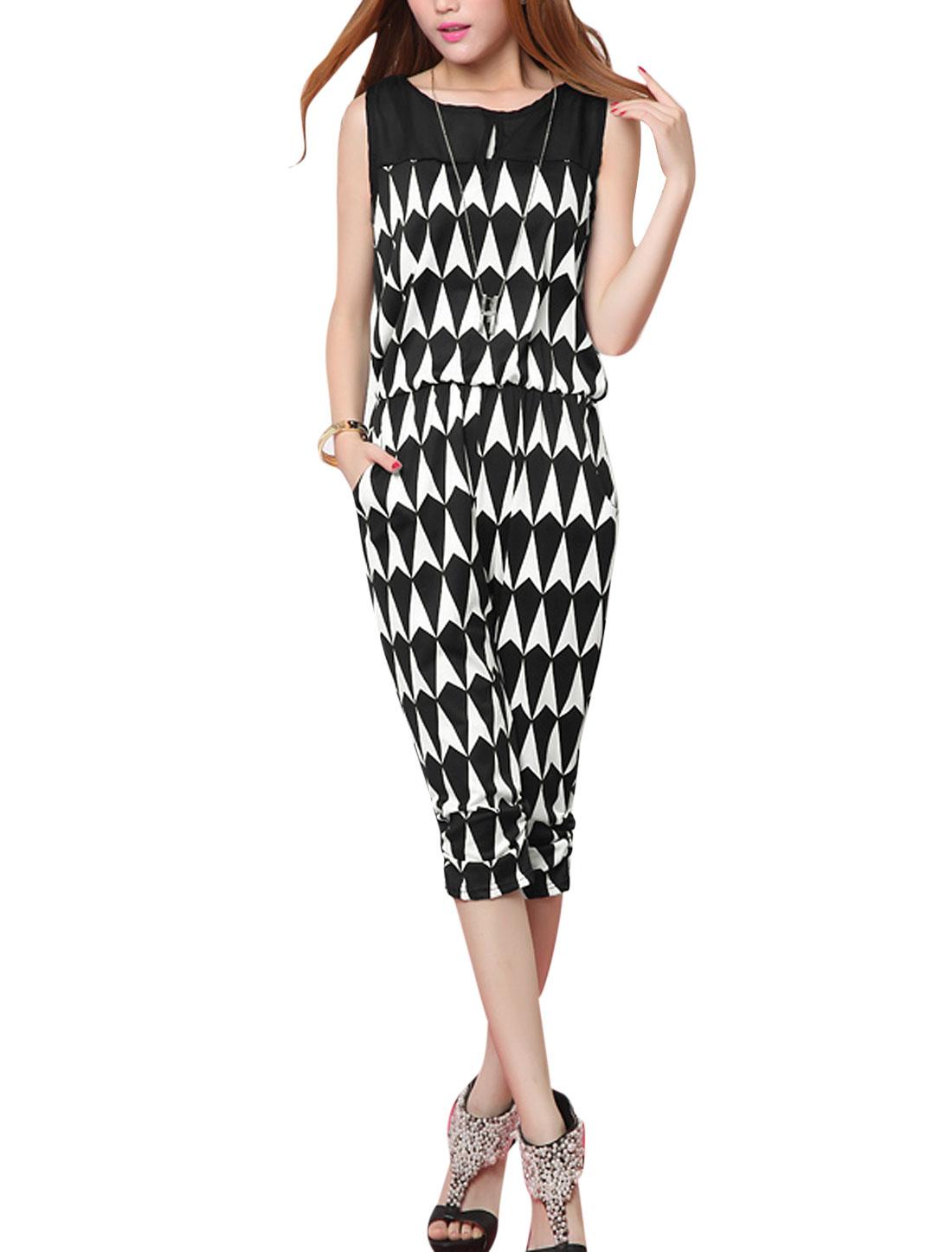 Lady Geometric Prints Keyhole Front Shirred Side Cuffs Jumpsuit Black White XS