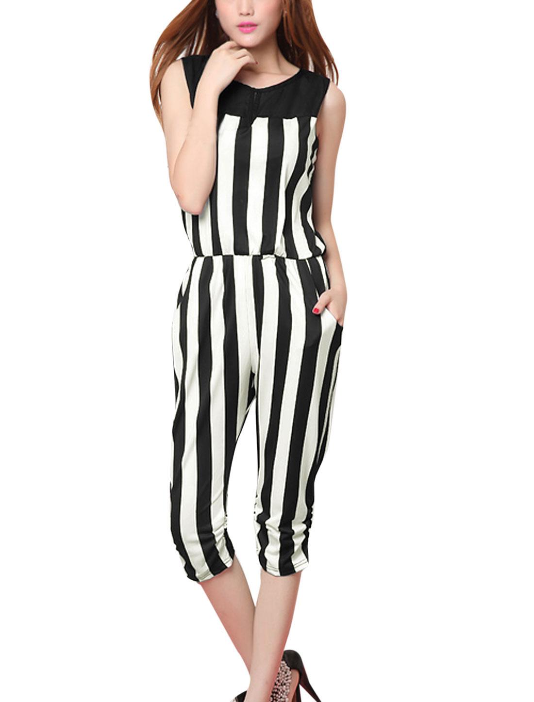 Ladies Vertical Stripes Pattern Cut Out Back Chic Jumpsuit Black White XS