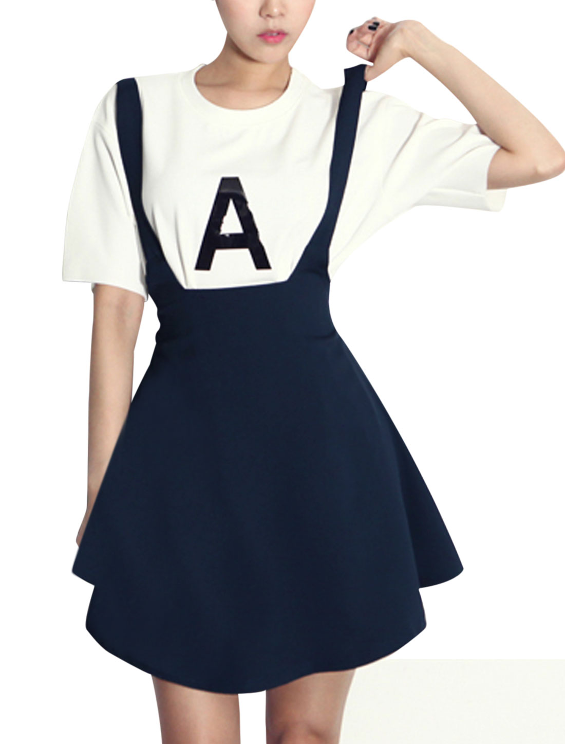 Women Letters Printed Top w Elastic Waist Suspender Skirt Navy Blue White XS