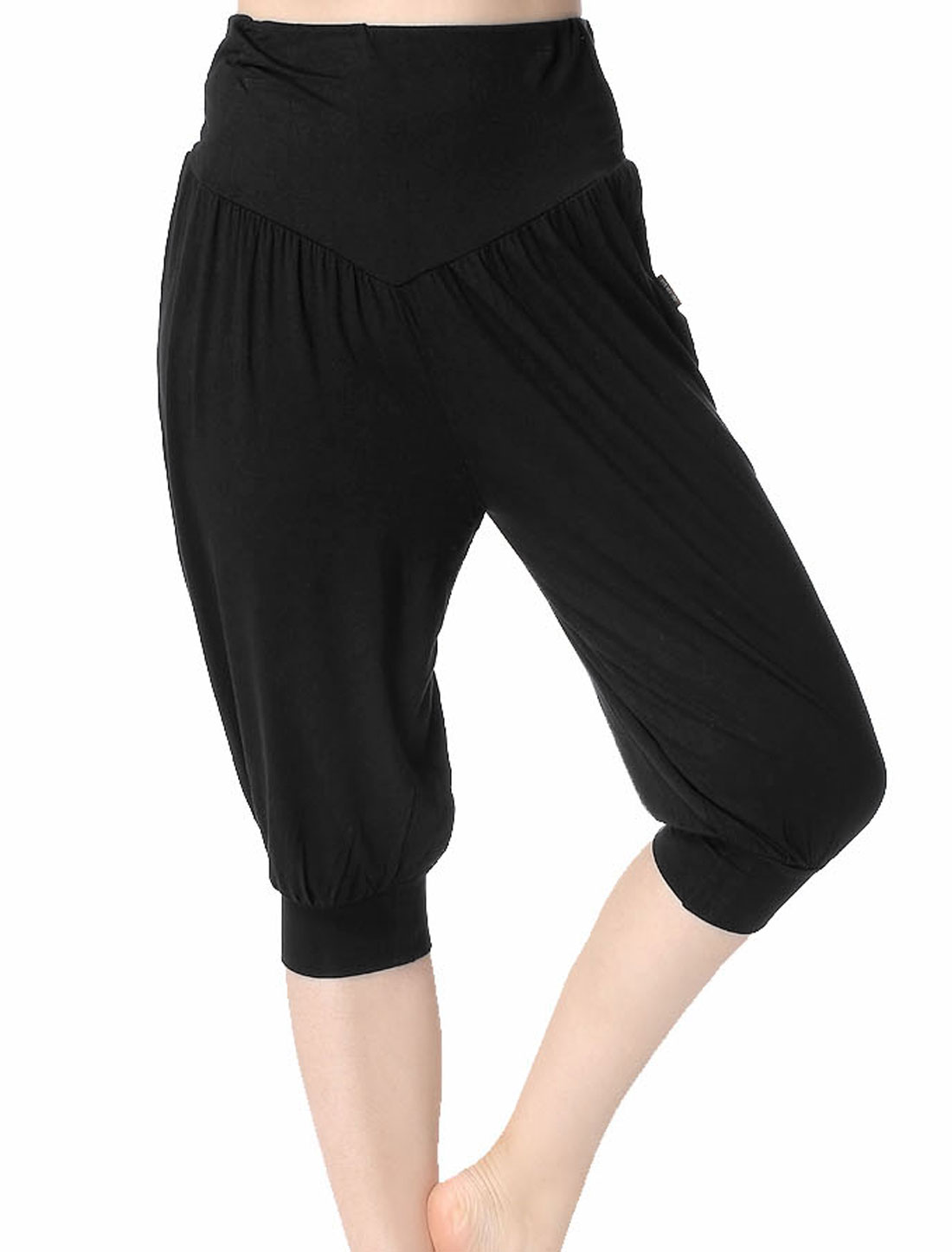Women Soft Stretchy Waist Loose Capris Yoga Bloomers Black XS