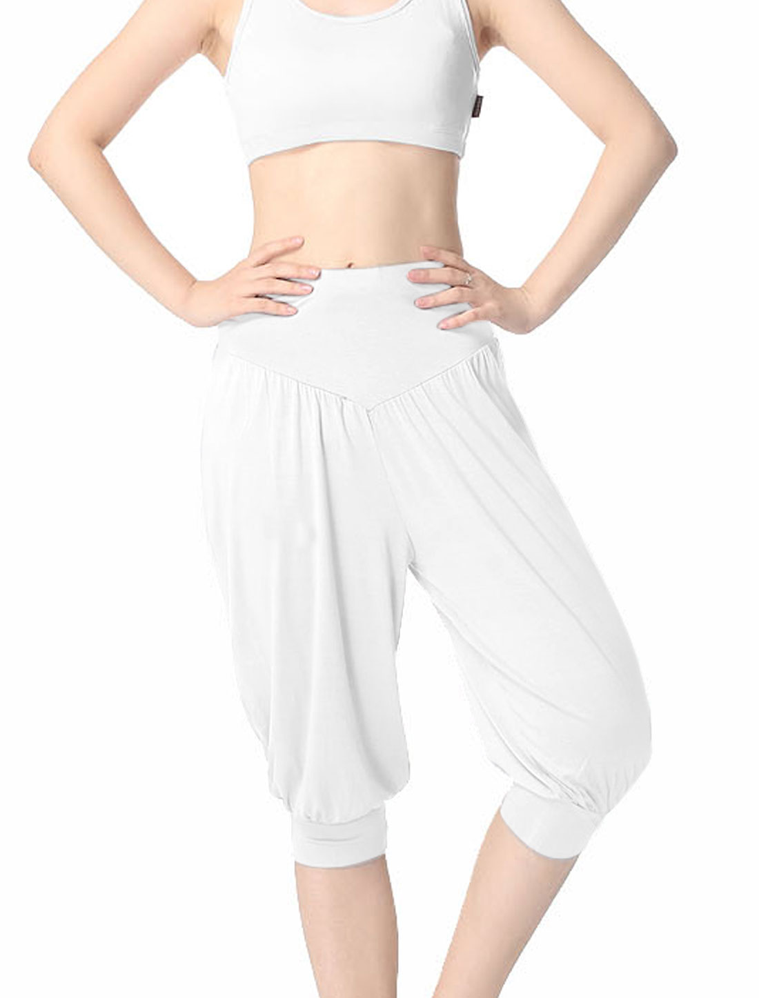 Women Leisure Soft Stretchy Waist Capris Yoga Bloomers White XS