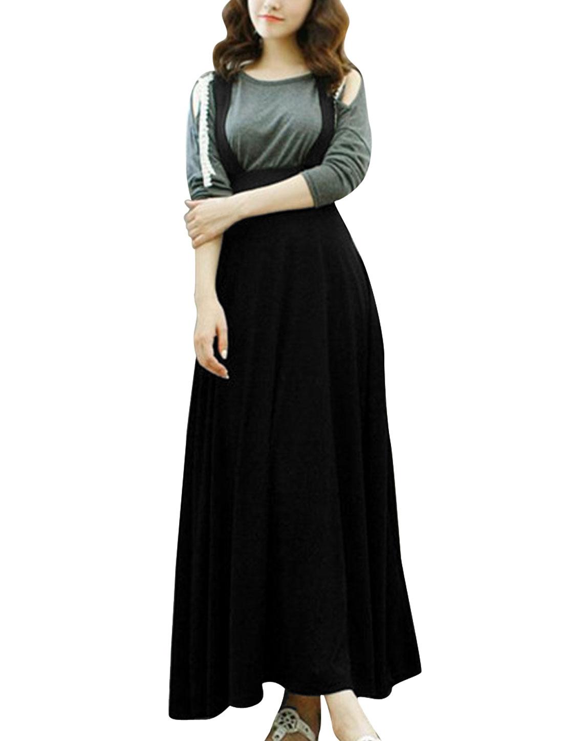 Lady Elastic Waist Mid Calf Crossover Back Suspender Skirt Black M