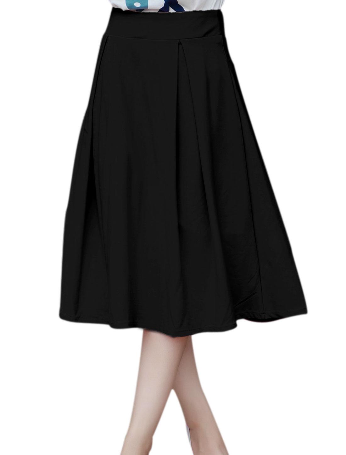 Ladies Mid Rise Pleated Design Elegant Full Skirt Black M