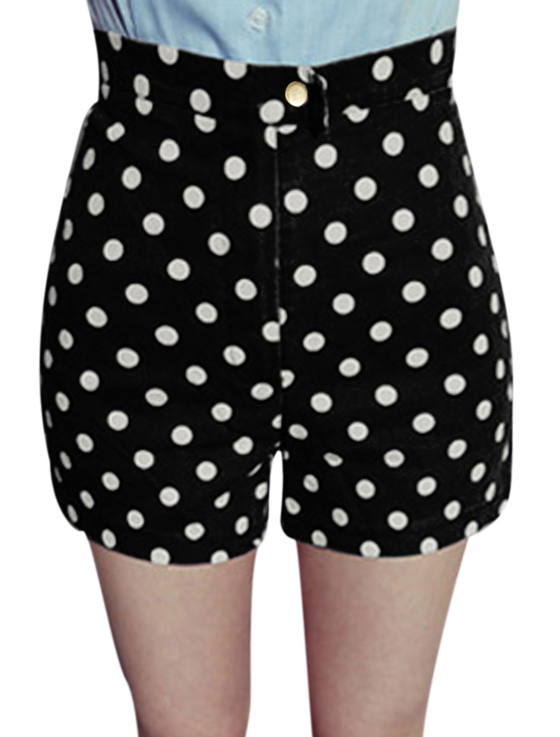 Lady Belt Loop Zip Fly Dots Prints High Rise Shorts Black XS
