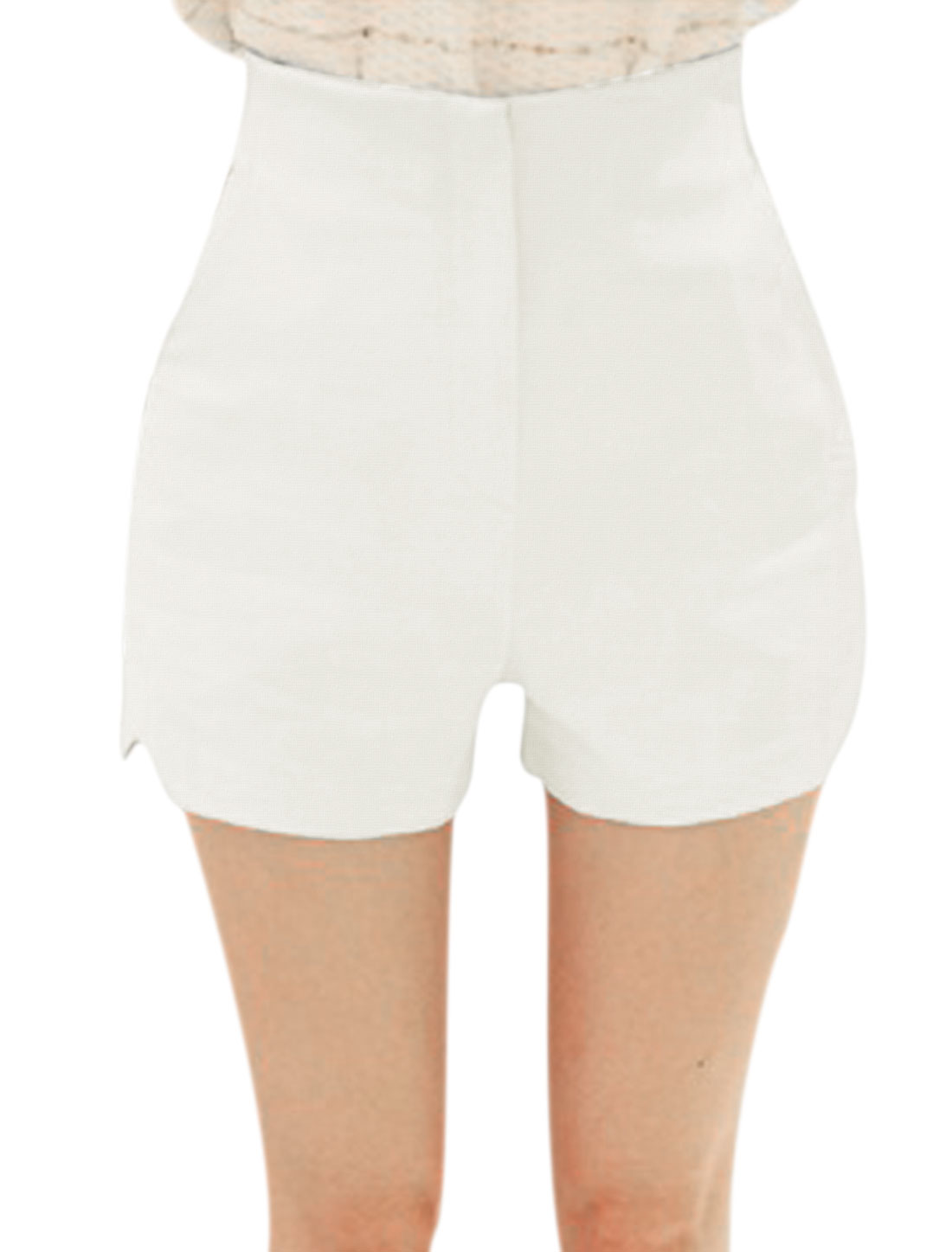 Lady High Waist Zip Fly Split Detail Slim Fit Shorts White XS