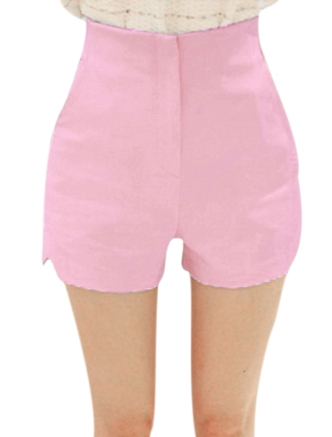 Lady High Rise Zip Fly Split Detail Slim Fit Shorts Pink XS