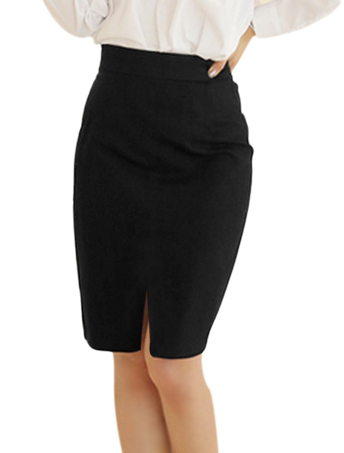 Lady Chic Elastic Waist Split Trim Pencil Skirt Black XS
