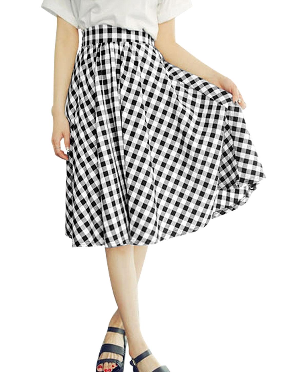Lady Plaids Pattern Elastic Waist Zipper Back A-Line Skirt Black White S