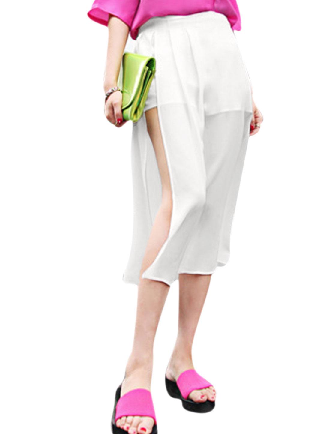 Lady Concealed Zipper Side Chiffon Overlay Shorts Lining Skirt White S