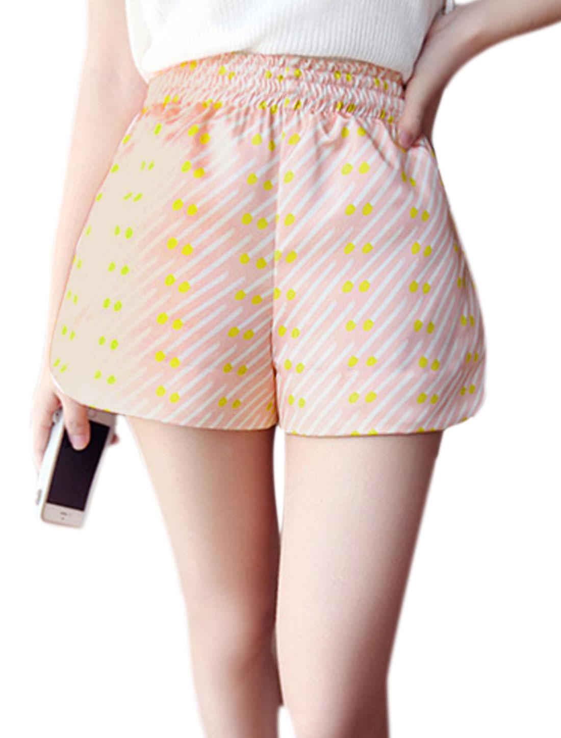 Lady Elastic Waist Matchstick Prints Summer Shorts Pink XS