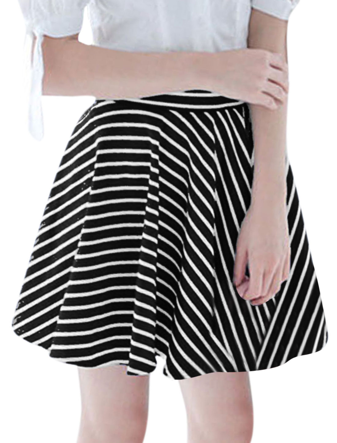 Women Strechy Waist Stripes Above Knee Sweet NEW Skirt Black White XS