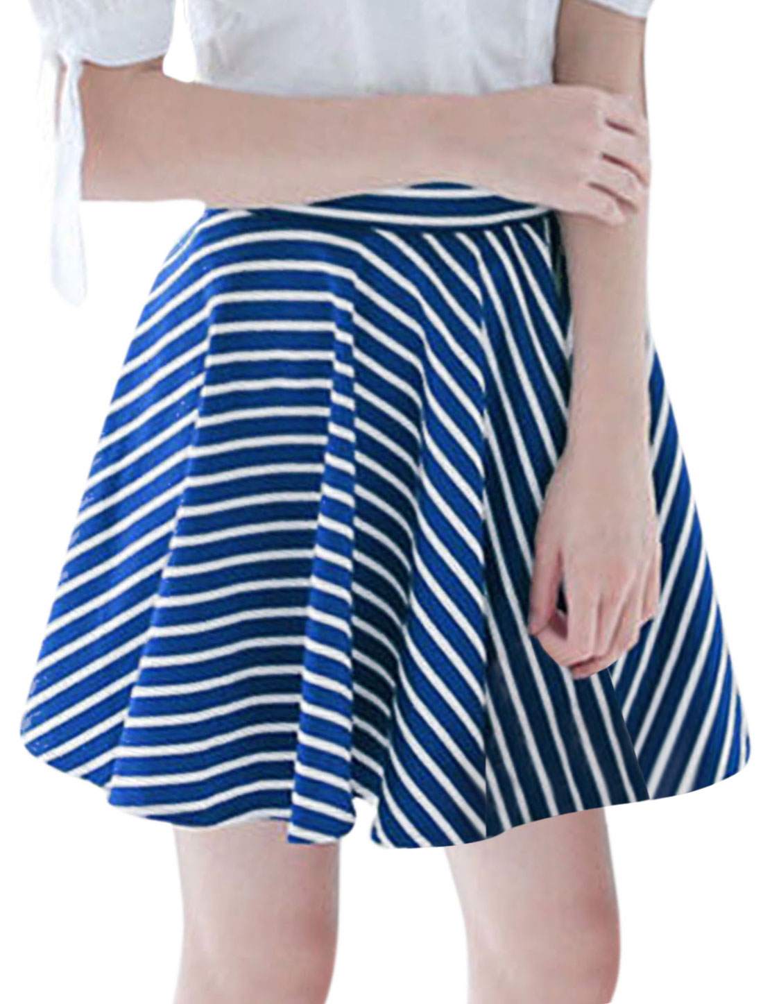 Women Elastic Waist Stripes A Line Sweet NEW Skirt Royal Blue White XS