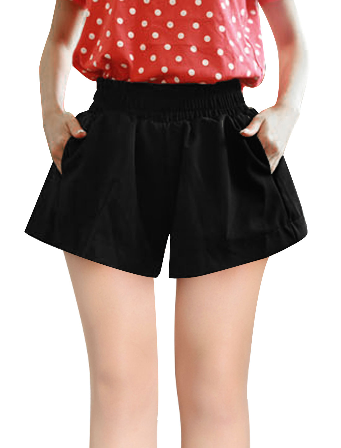 Lady Elastic Smocked Waist Lining Shorts Black S