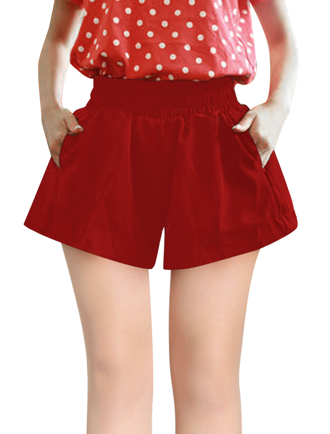 Lady Two Slant Pockets Front Lining Shorts Red S