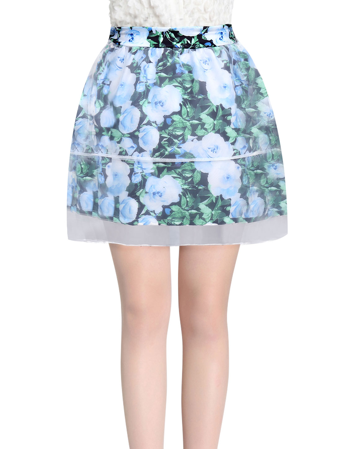 Women Elastic Waist Floral Prints Mesh Overlay Skirt Sky Blue XS