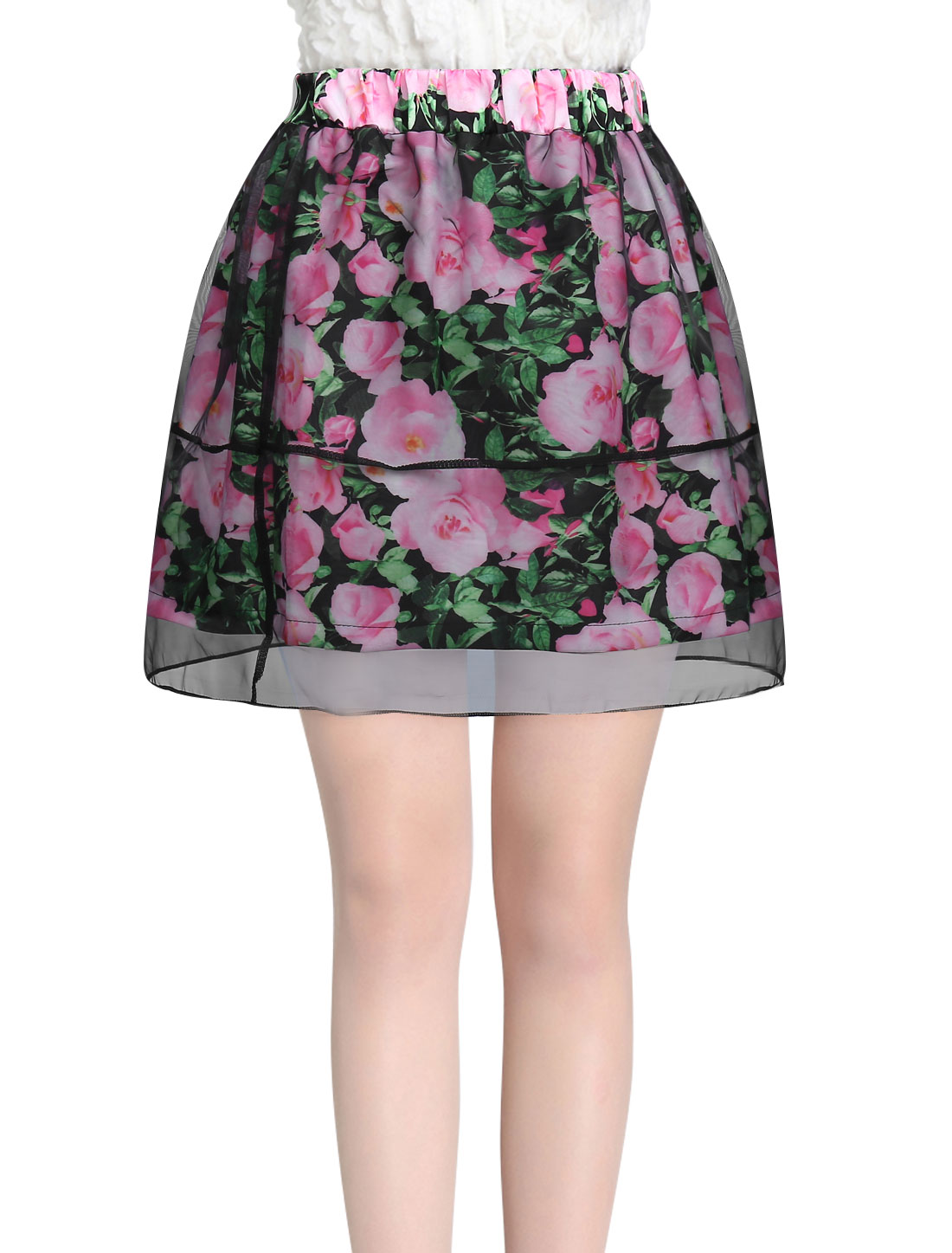 Women Stretchy Waist Floral Prints Mesh Overlay Skirt Pink XS