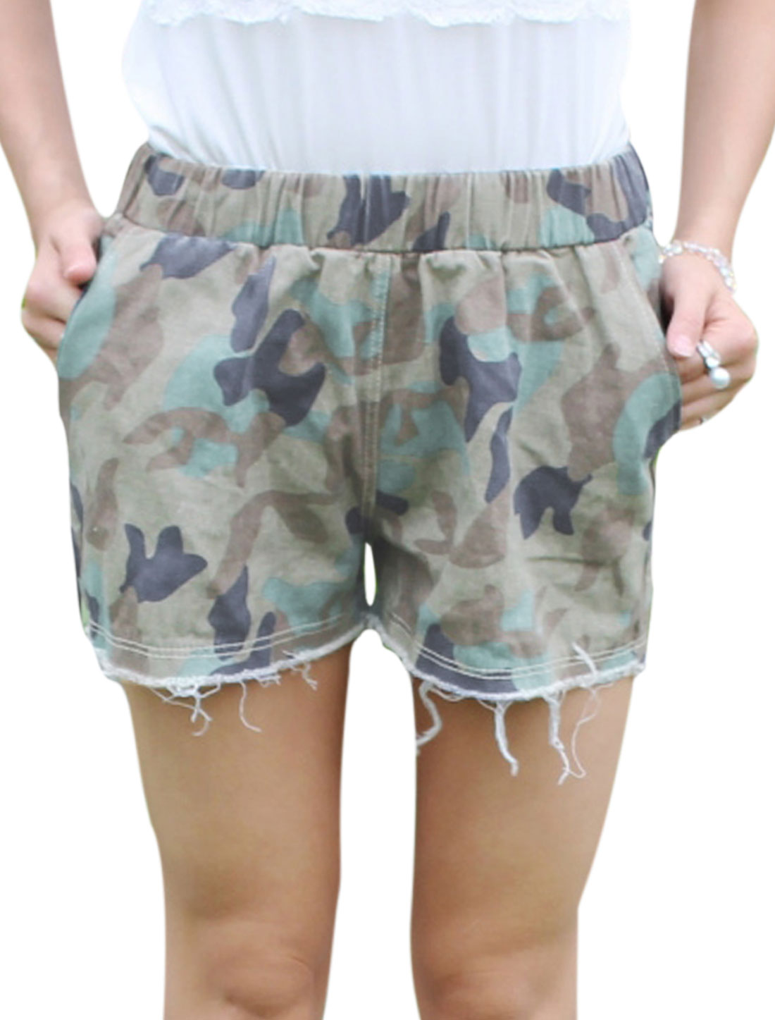 Women NEW Camouflage Pattern Destroyed Cuffs Casual Shorts Navy Blue Light Green XS